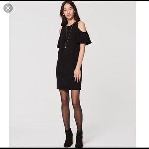 LOFT Black sheath cold shoulder dress.